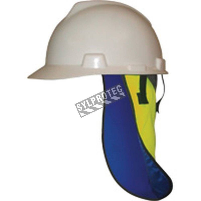Neck protection for safety helmet with refreshing towel made of crystal acrylic polymer and nylon.