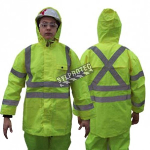 High visibility fluorescent yellow rain coat with silver reflective stripes.
