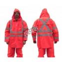 Manteau imperméable économique de couleur orange haute visibilité avec bandes réfléchissantes, conforme à la CSA (S à 5XL)