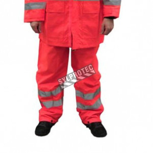 High visibility fluorescent orange rain pants with silver reflective stripes.