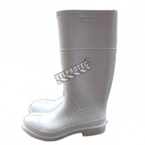 Waterproof white PVC boots with steel toes and anti-slip soles,   compliant with ASTM F2413-05 standards.