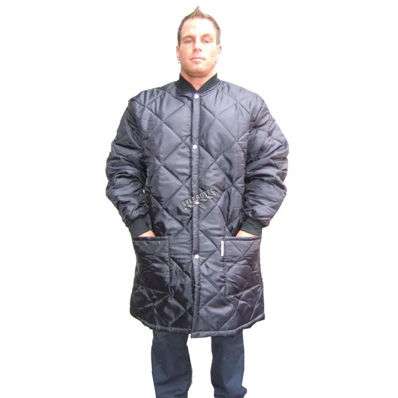 Manteau matelassé long pour travail en réfrigérateur, avec 2 poches avant et fermeture à boutons-pression.