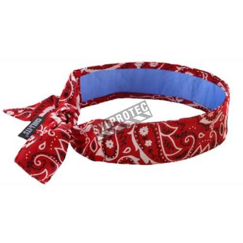 Cooling bandana with PVA lining, for reducing heat discomfort.