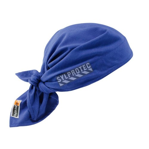 Blue triangle hat with refreshing towel, flame resistant made of acrylic polymer crystals.