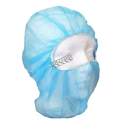 Disposable balaklava hood made of blue polypropylene, latex free, 500/case.