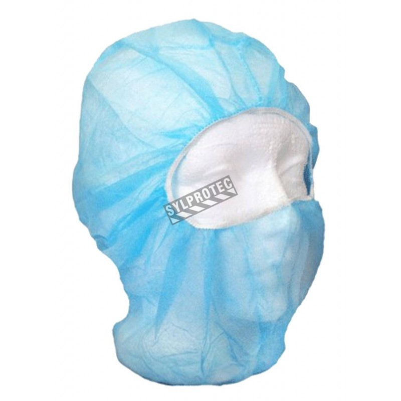 Disposable balaklava hood made of blue polypropylene, latex free, 500/case.