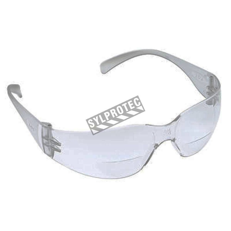 3M Virtua Max protective eyewear with anti-fog treated clear polycarbonate lenses and a +2,5 bifocal magnification strength.