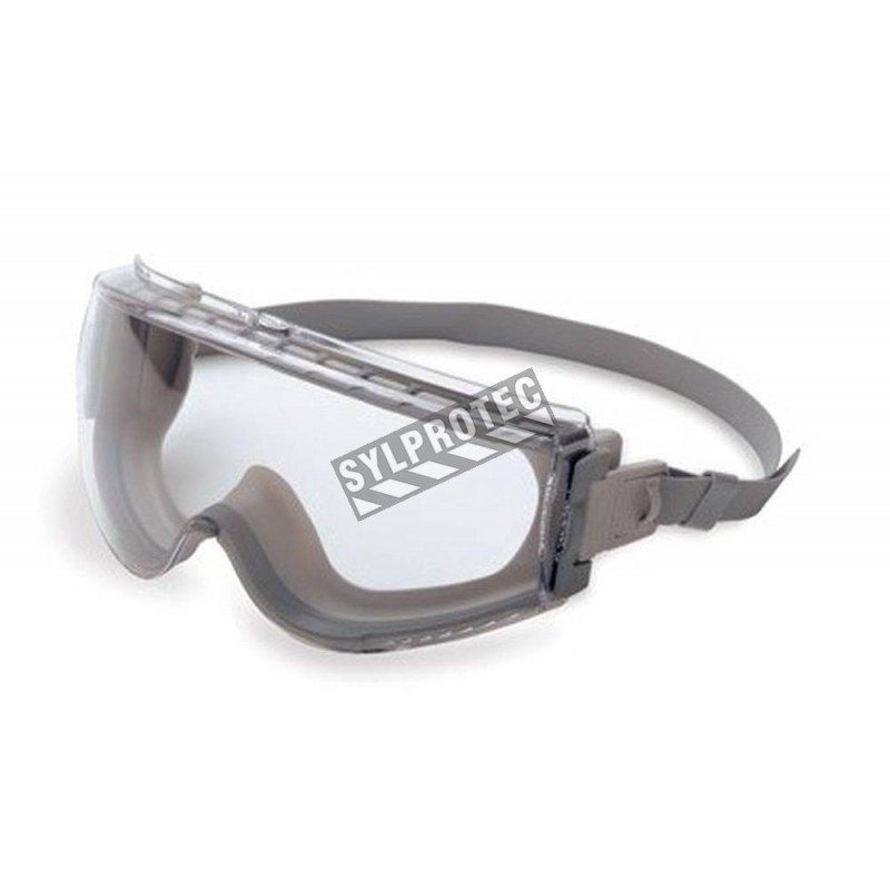 UVEX Stealth gray safety goggles with clear lens and neoprene headband.