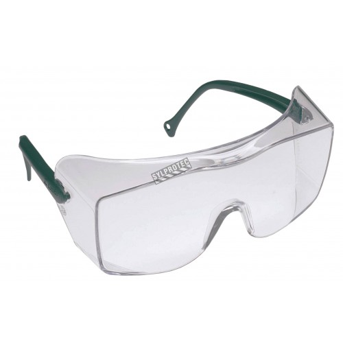 3M OX protective eyewear with DX anti-fog treated clear polycarbonate lens for over-the-glass coverage for prescription glasses.