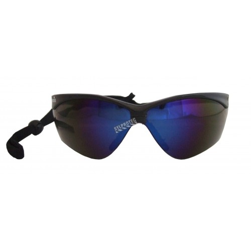 Jackson Safety Nemesis protective eyewear with anti-fog treated blue mirror polycarbonate lenses ideal for outside work.