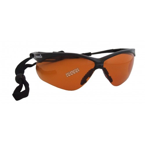 Jackson Safety Nemesis protective eyewear with anti-fog treated copper blue block polycarbonate lenses for bright conditions.