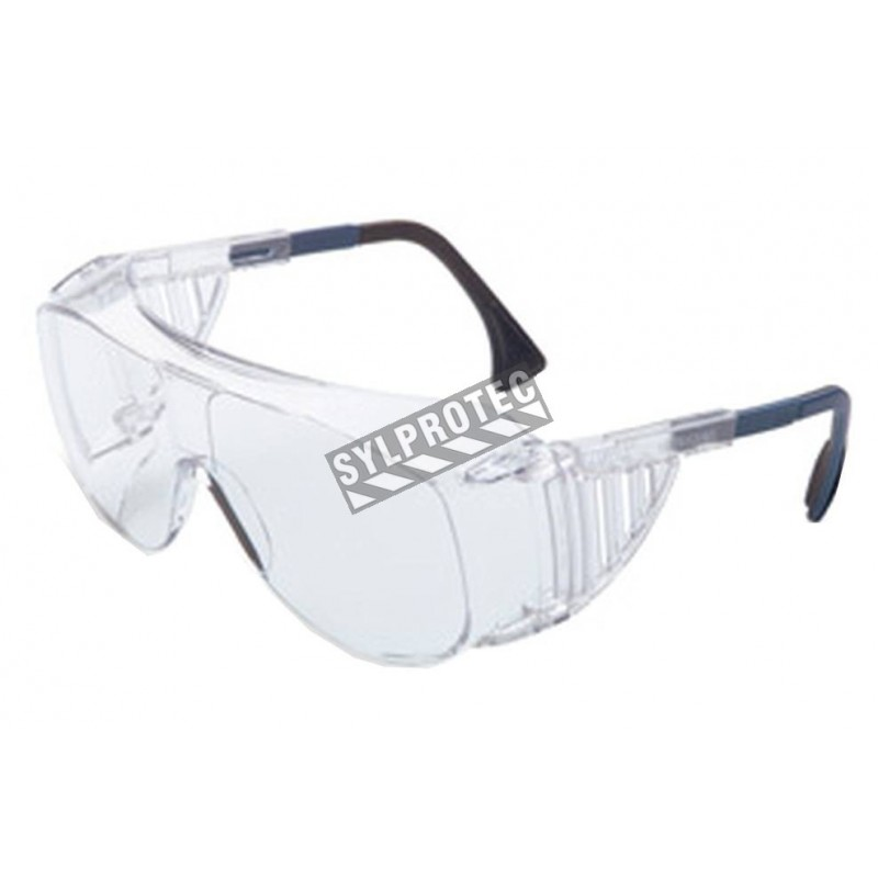 Uvex Ultra-Spec 2001 OTG protective eyewear with Uvextreme anti-fog treated clear polycarbonate lenses to wear over eyeglasses.
