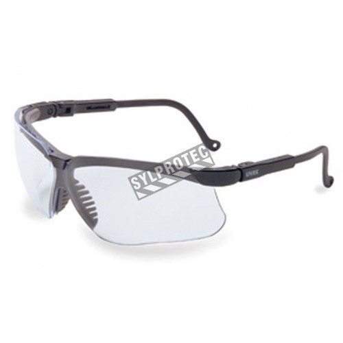 Uvex Genesis protective eyewear with Uvextreme anti-fog treated clear polycarbonate lenses. Exceed military impact standards