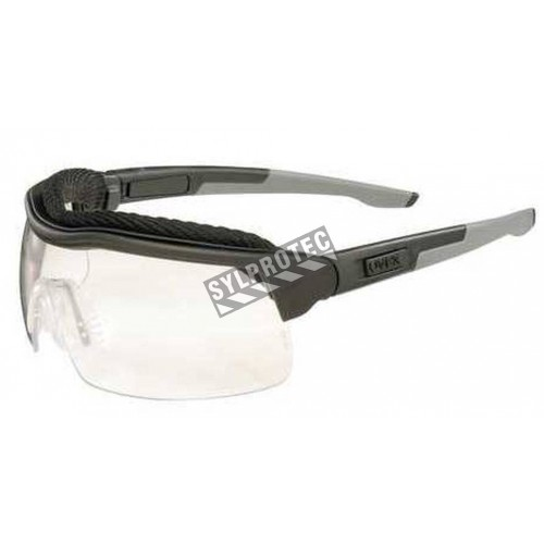 Uvex ExtremePro protective eyewear with anti-scratch treated clear polycarbonate lenses, MoistureWick brow & GripClick frame.
