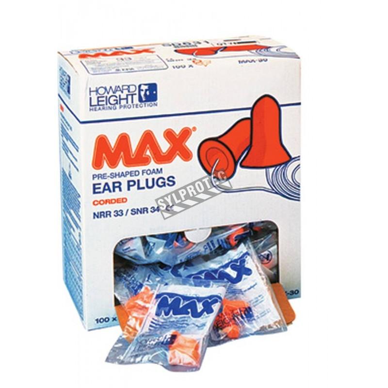 Bouchon Max en mousse avec corde 33 db . bt/100 un.