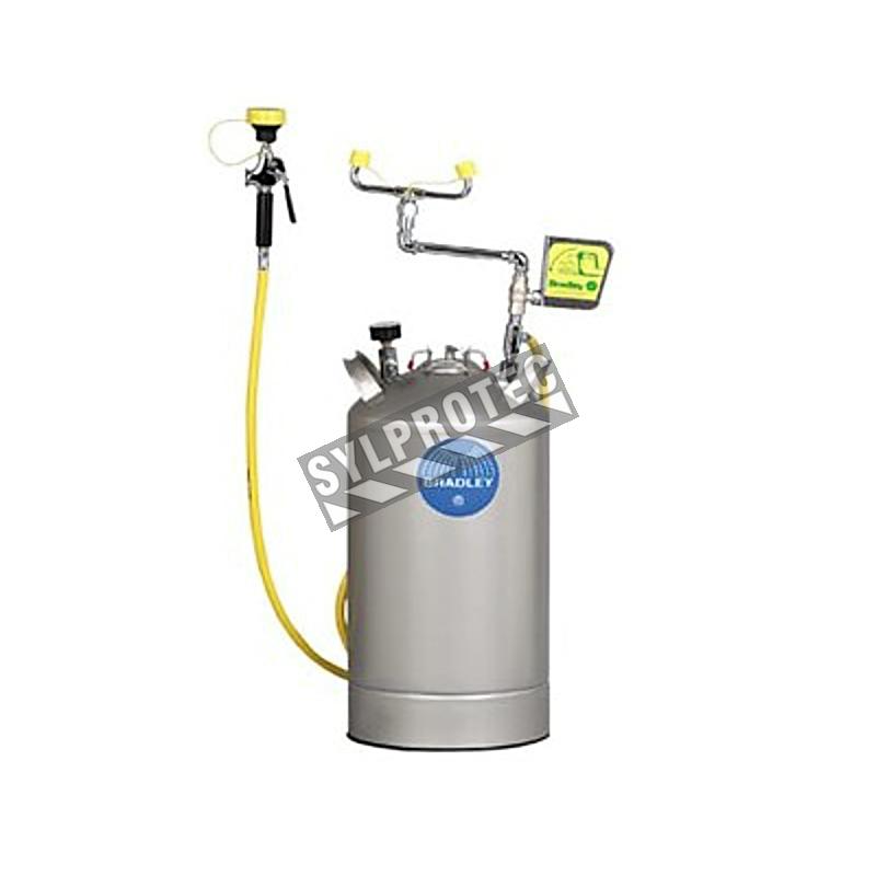 Portable eyewash station with handheld spray hose, 10 gallon (37.9 L) pressurized tank, certified ANSI Z358.1-2009.