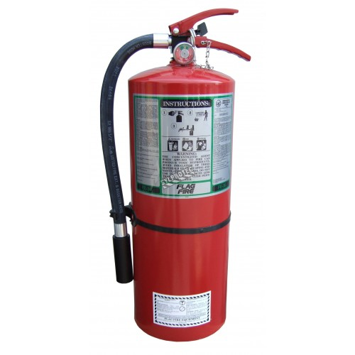 Portable fire extinguisher with FE36, 9.5 lbs, type ABC, ULC 1A-10BC, with wall hook. Ideal for electronics.