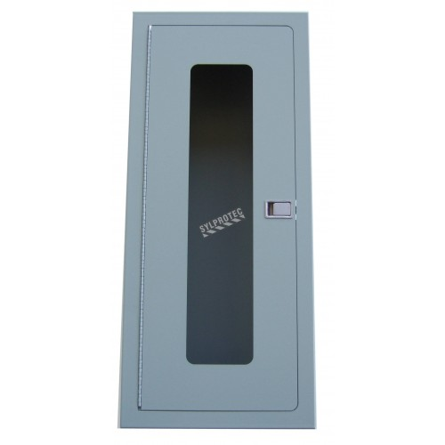 Semi-recessed built-in cabinet for 10 lbs powder fire extinguishers, pre-painted flat gray.