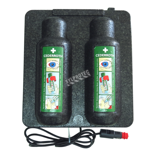 Heating cabinet for two bottles of Cederroth eyewash solution, 500 ml format.