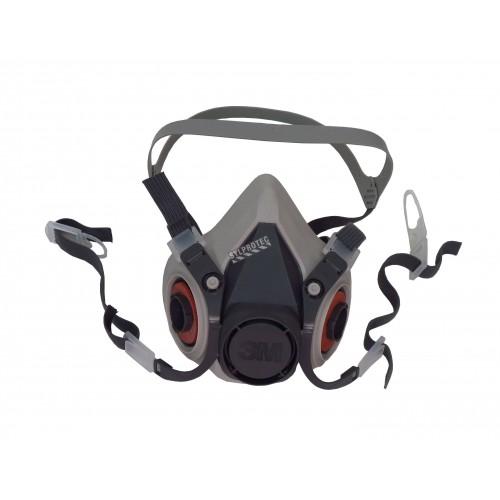 Demi-masque de protection respiratoire de série 6000 de 3M. Homologué NIOSH et CSA Z94.4. Cartouche et filtre non-inclus. Petit.