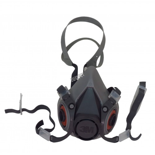 Demi-masque de protection respiratoire de série 6000 de 3M. Homologué NIOSH et CSA Z94.4. Cartouche et filtre non-inclus. Moyen.