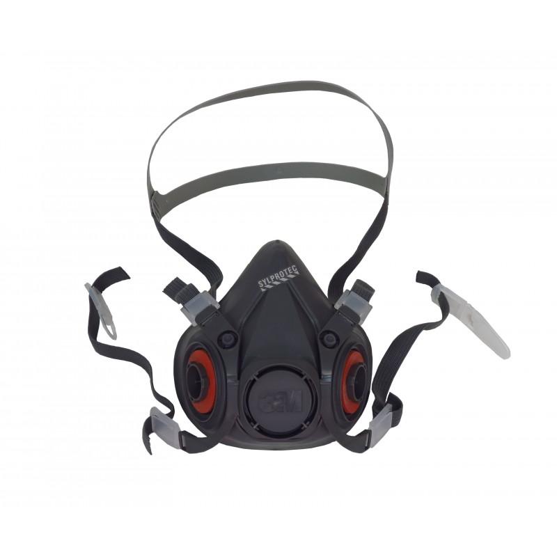 Demi-masque de protection respiratoire de série 6000 de 3M. Homologué NIOSH. Cartouche et filtre non-inclus. Large.