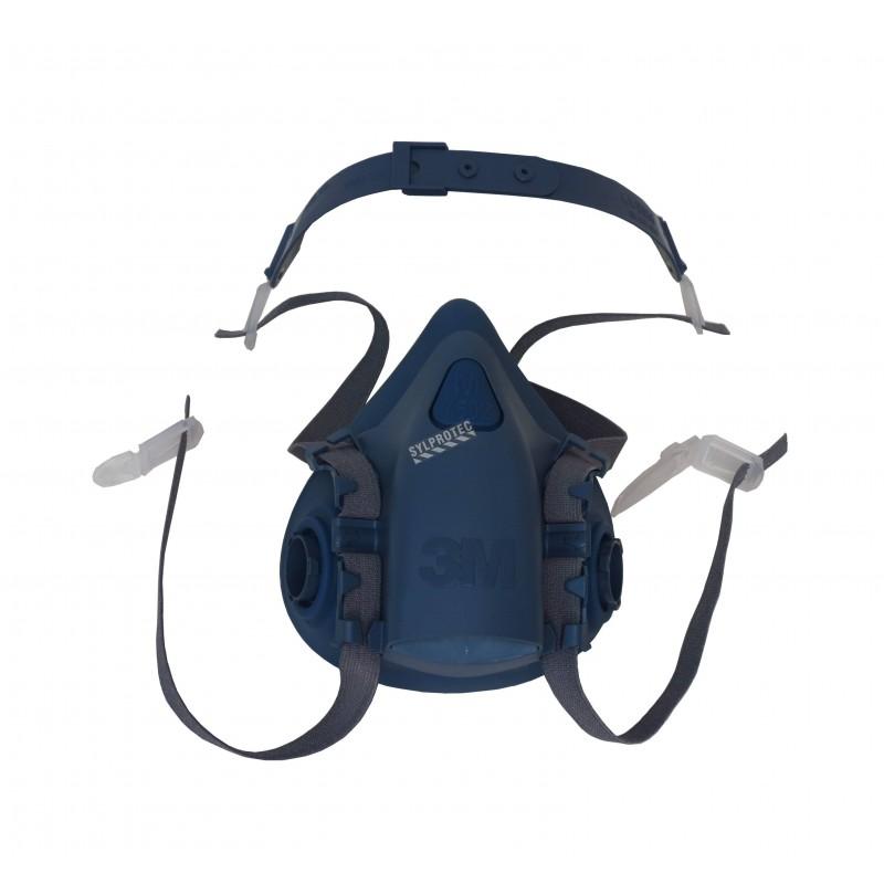 Demi-masque de protection respiratoire de série 7500 de 3M. Homologué NIOSH. Cartouche et filtre non-inclus. Moyen.