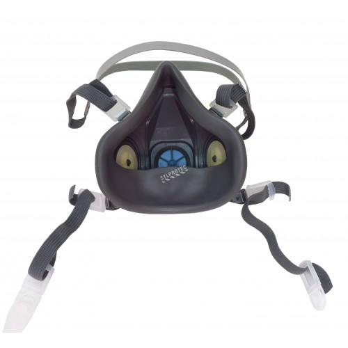 Demi-masque de protection respiratoire de série 7500 de 3M. Homologué NIOSH et CSA Z94.4. Cartouche et filtre non-inclus. Moyen.