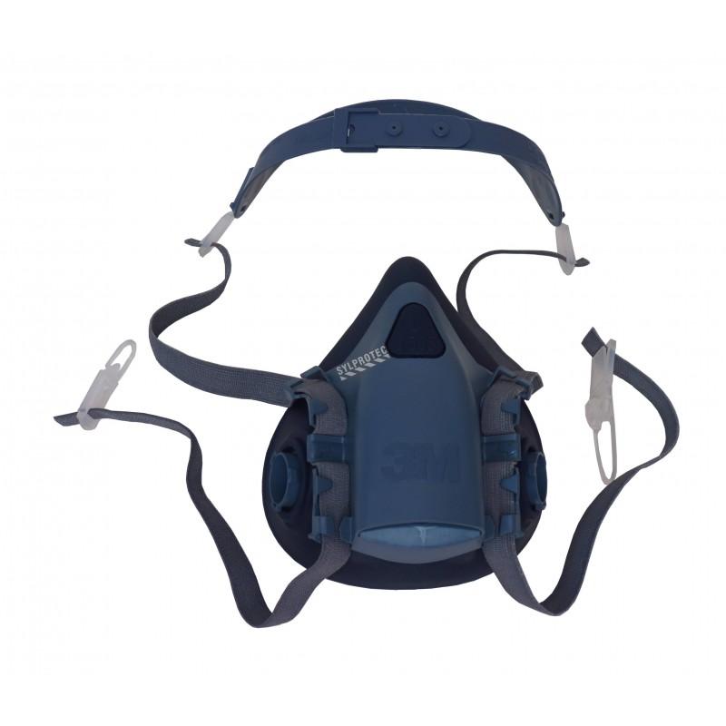 Demi-masque de protection respiratoire de série 7500 de 3M. Homologué NIOSH. Cartouche et filtre non-inclus. Large.