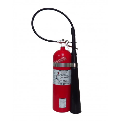 Portable fire extinguisher with CO2, 15 lbs, type BC, ULC 10BC, with wall hook. Best for electrical fires.