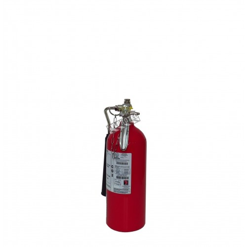 Portable fire extinguisher with CO2 5 lbs, type BC, ULC 10BC, with wall hook. Best for electrical fires.