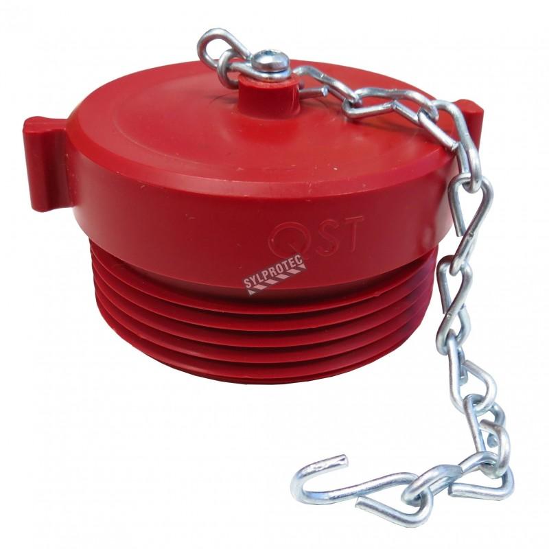 Bouchon à fileté externe en plastique 2.5 po, pour raccord pompier (siamoise), avec   chaîne.