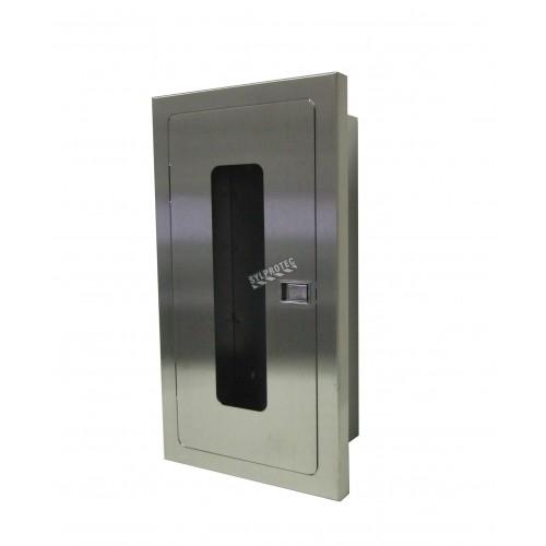 Cabinet semi-encastré en acier inoxydable, pour extincteurs à poudre de 5 lbs. Idéal pour l'industrie alimentaire.
