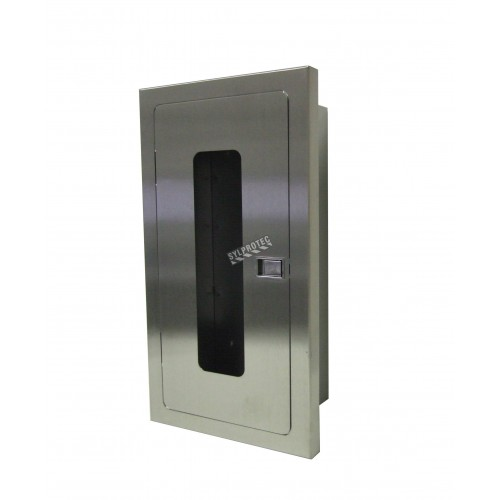 Semi-recessed stainless steel cabinet for 5 lbs powder fire extinguishers. Great for food industry.