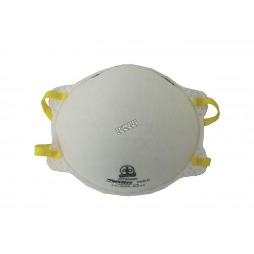 Masque de protection respiratoire N95 efficace contre les particules solides et liquides, mais pas les particules huileuses.