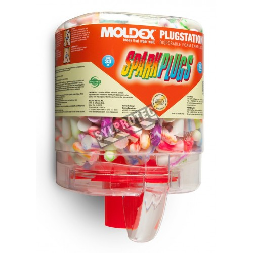 Moldex PlugStation dispenser of SparkPlugs uncorded earplugs, 33 dB, 250 pairs included.