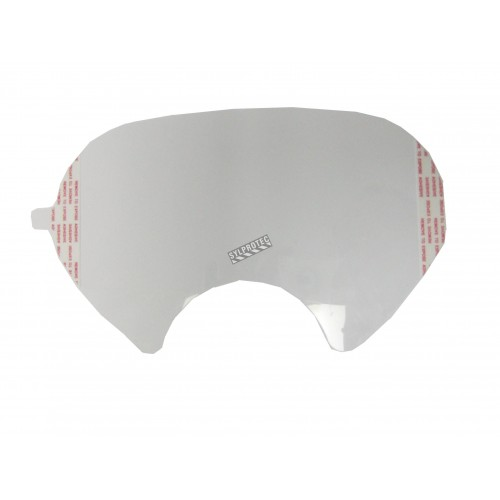 3M clear faceshield sticker cover compatible with 3M 6000 series full facepiece respirators.