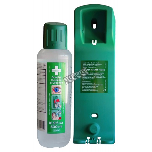 Support mural pour solution Cederroth pour lavage oculaire (500 ml).
