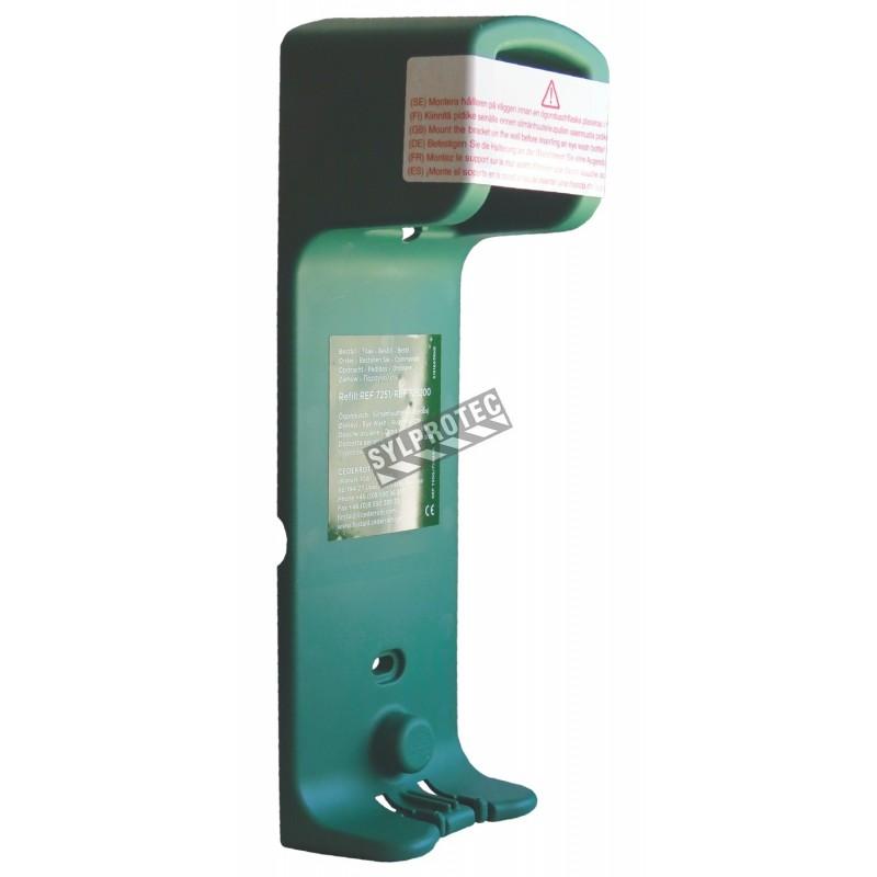 Wall holder for Cederroth emergency eye wash solution (500 ml).