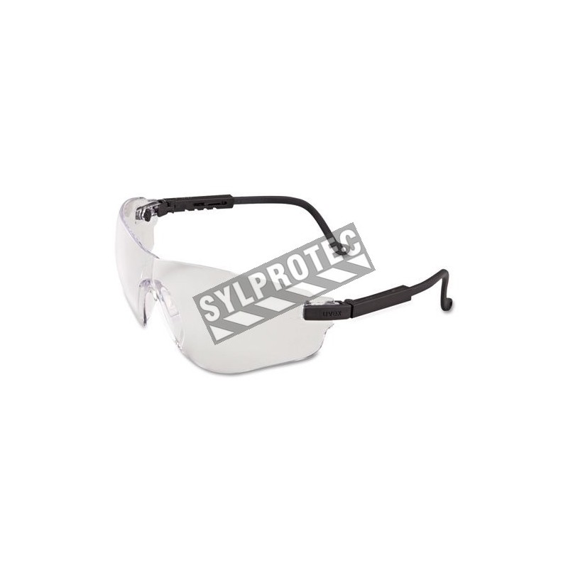 Uvex Falcon protective eyewear with Uvextreme anti-fog treated clear polycarbonate lenses. Features a lens inclination system.
