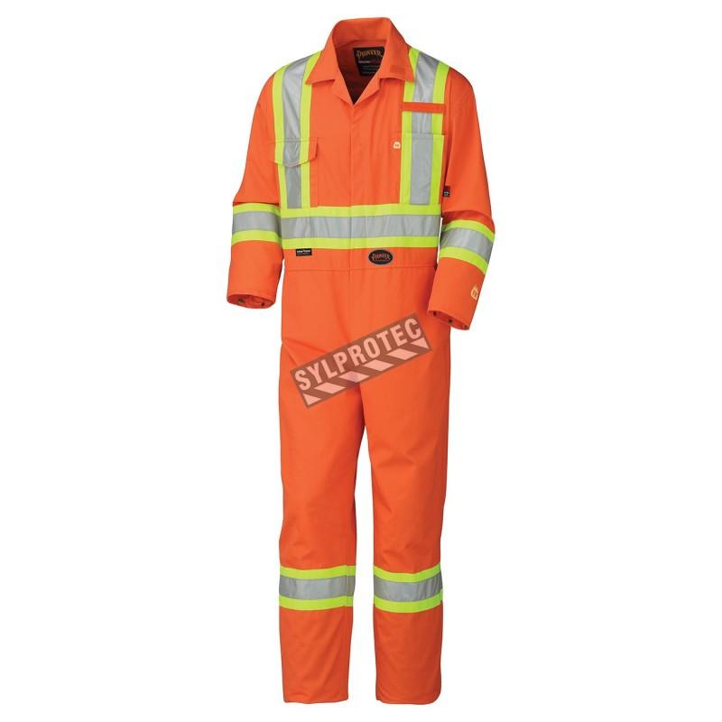 Combinaison orange 100% ignifuge, HRC 2, avec bandes réfléchissantes haute visibilité.
