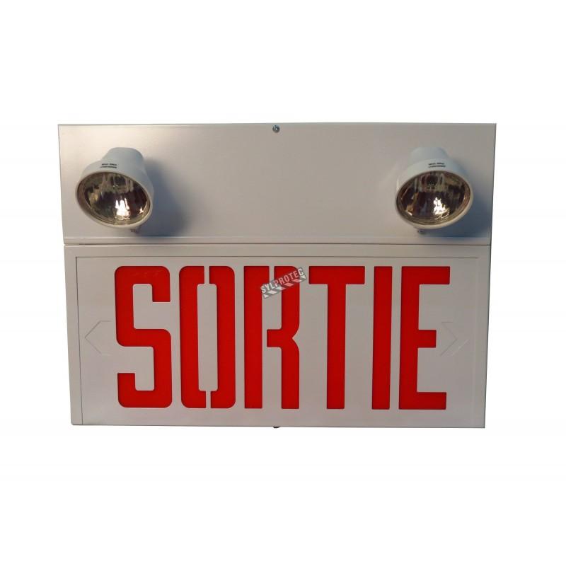 Unité d'éclairage combinée «Sortie» d'urgence avec 2 phares.