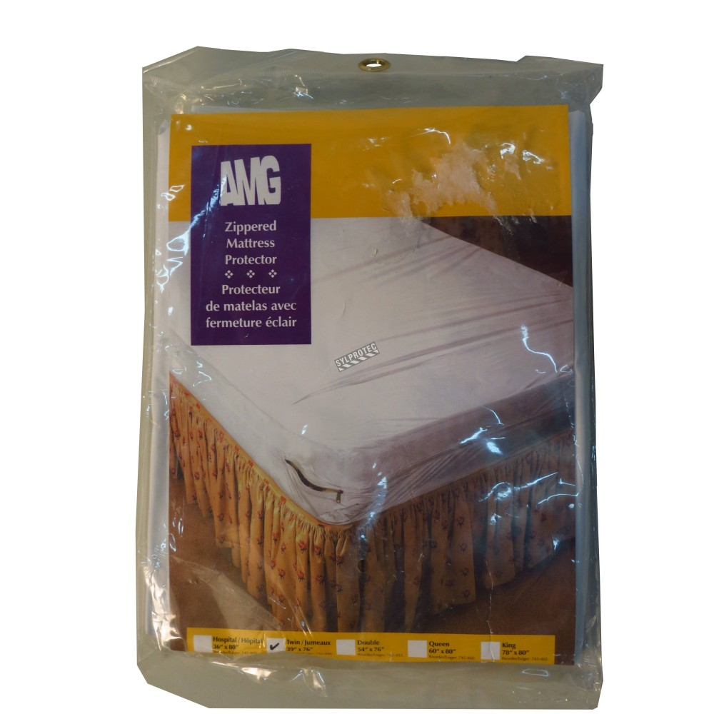Waterproof white vinyl fitted mattress cover for twin bed.