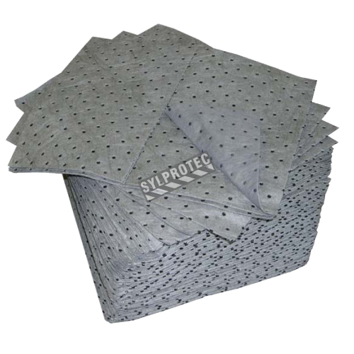 Universal absorbent pads for non-corrosive spills, 15 X 18 inches, 100 pads/package.
