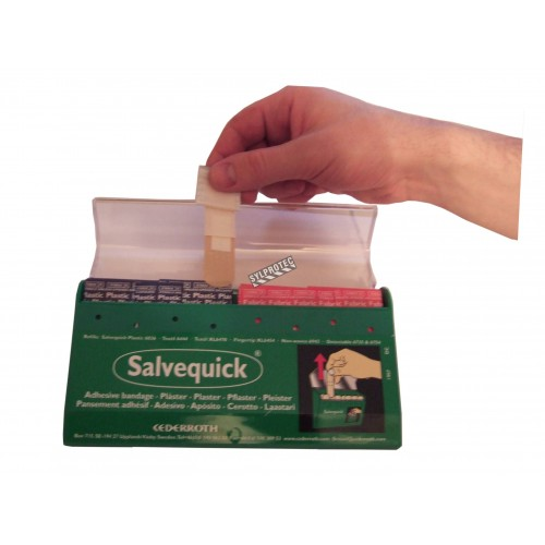 """Salvequick"" adhesive bandage dispenser by Cederroth, with 85 bandages included."