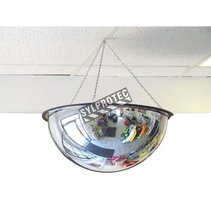 Miroir convexe en dôme complet, en acrylique, pour vue à 360 degrés dans une intersection.