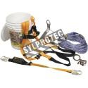 Ensemble Miller de protection antichute pour couvreur incluant harnais, longe (3 pi), coulisseau, corde (50 pi) & ancrage
