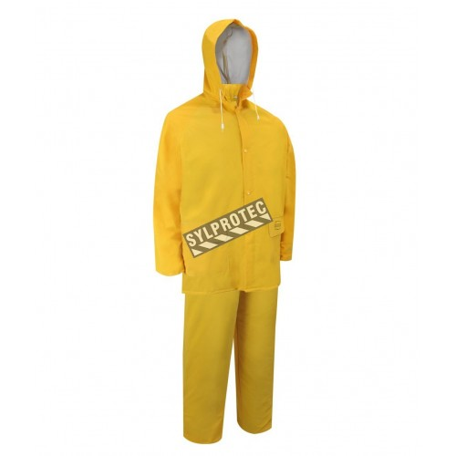 Yellow PVC three-piece rain suit (coat, hood, bib overalls), size large (L).