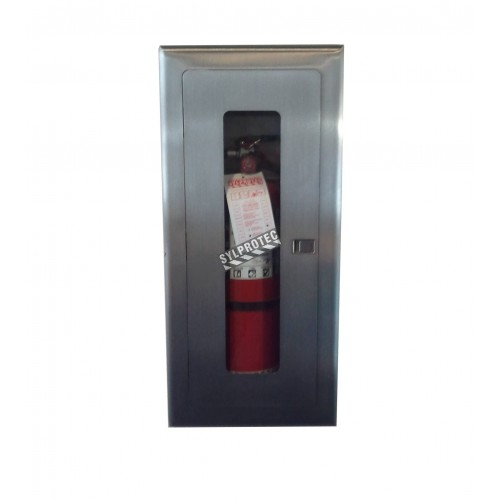 Semi-recessed built-in stainless steel cabinet for 10 lbs powder fire extinguishers. Great for food industry.