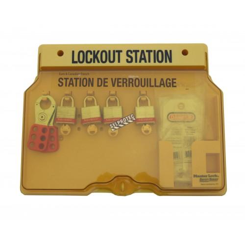 Station de verrouillage à 4 cadenas, 2 moraillons et 12 étiquettes bilingues «Danger - Ne pas opérer».